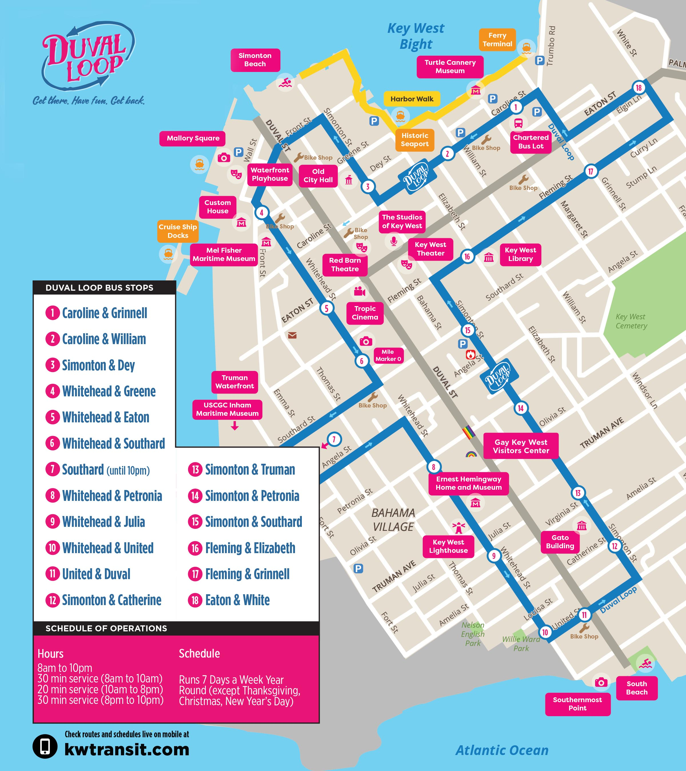 Hotel Map Of Key West Florida The Duval Bus Loop in Key West | Car Free Key West